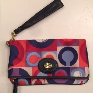 Coach Multi-Colored Magnetic Snap Closure Wristlet